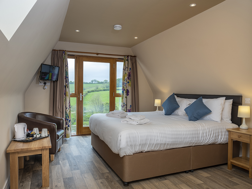 Interior of a glamping lodge at Poltimore